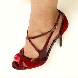 Carlos burgundy red suede patent peep toe heels